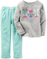 Carter's Baby Girls' 2-Pc. Buttlerfly Top & Jogger Pants Set