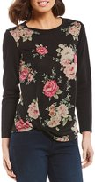 I.N. Studio Long Sleeve French Terry Floral Print Knot Hem Top