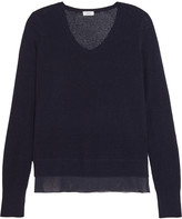 Vince Silk-crepe and pointelle-knit wool and cashmere-blend sweater