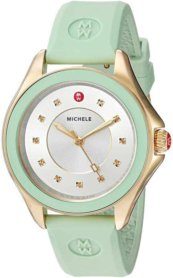Michele Women's 'Cape' Quartz Stainless Steel and Silicone Dress Watch, Color:Green (Model: MWW27A000018)