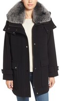 Trina Turk 'Peyton' Genuine Fox Fur Trim Wool Blend Duffle Coat