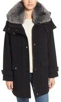 Trina Turk Women's 'Peyton' Genuine Fox Fur Trim Wool Blend Duffle Coat