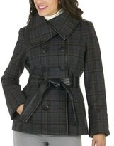Mossimo® Black: Wool Jacket with Faux Leather Trim - Brown Plaid