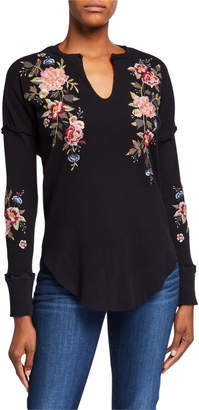 Johnny Was Britton V-Neck Thermal Top w/ Floral Embroidery