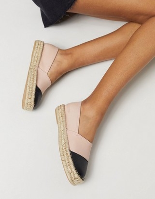Solillas leather flatform espadrilles with black toe cap in blush