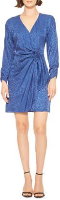 Parker Linda Long-Sleeve Leopard Jacquard Cocktail Dress