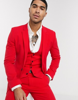 ASOS DESIGN super skinny suit jacket in bright red in four way stretch