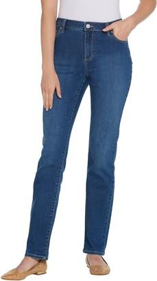 Susan Graver Petite High Stretch Denim Straight Leg Jeans