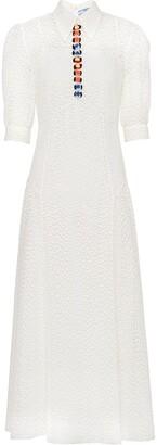 Prada Flower-Embellished Shirt Dress