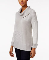 Style&Co. Style & Co. Striped Ribbed Cowl-Neck Sweater, Only at Macy's