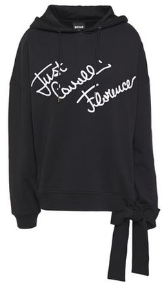 Just Cavalli Bow-detailed Embroidered French Cotton-terry Hoodie