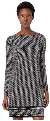 MICHAEL Michael Kors Chain Stripe Long Sleeve Border Dress (Black/Silver) Women's Dress