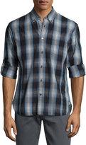 John Varvatos Garment-Wash Check Sport Shirt, Blue