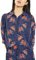Topshop Petite Women's Tiger Print Shirt