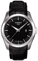 Tissot T0354101605100 Couturier Date Leather Strap Watch, Black