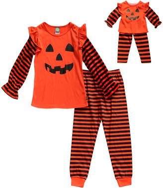 Dollie & Me Girls' Sleep Bottoms OR/BK - Orange Pumpkin Pajama Set & Doll Outfit - Toddler & Girls