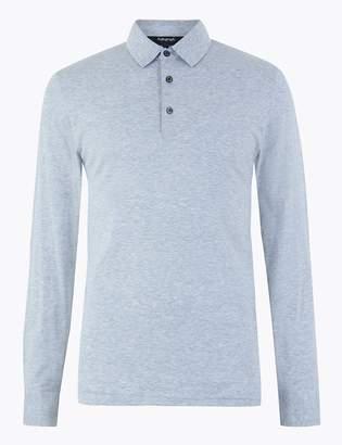 Marks and Spencer Supima Cotton Long Sleeve Polo Shirt