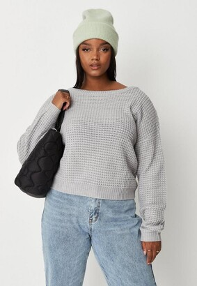 Missguided Plus Size Gray Waffle Knit Off The Shoulder Sweater