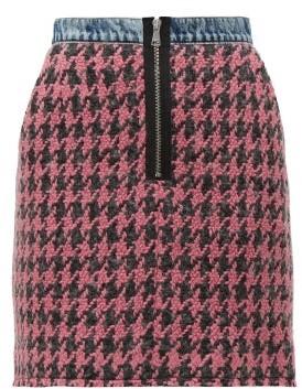 Natasha Zinko Houndstooth-tweed And Denim Mini Skirt - Womens - Pink Multi