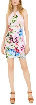 GUESS Floral-Print Keyhole Dress