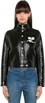Courreges Logo Faux Patent Leather Jacket
