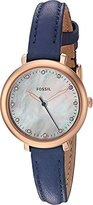Fossil Women's Quartz Stainless Steel and Leather Automatic Watch, Color:Blue (Model: ES4083)