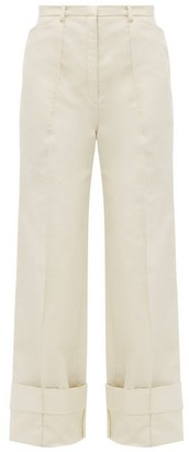 Lemaire Wide-leg Cotton-blend Twill Trousers - Ivory