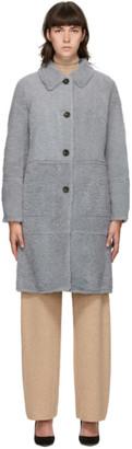 Yves Salomon Reversible Grey Shearing Coat