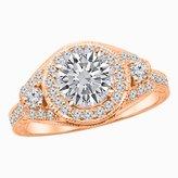 Houston Diamond District 1.52 Carat t.w. Platinum Round Three Stone Vintage Bridal Set w Wedding Band & Diamond Engagement Ring SI2-I1