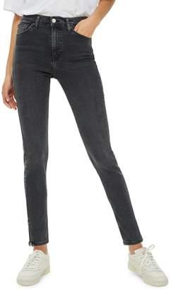 Topshop Washed Black Zip Hem Jamie Jeans 34-Inch Leg