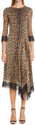 Fuzzi Leopard Print Lace Trim Asymmetrical Mesh Dress