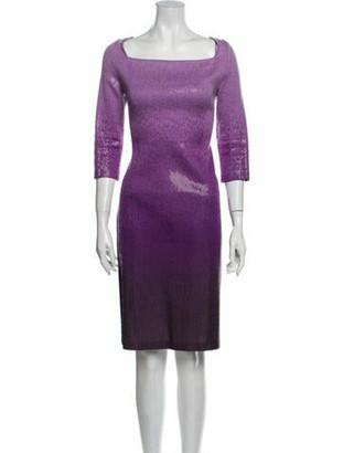 St. John Printed Knee-Length Dress Purple