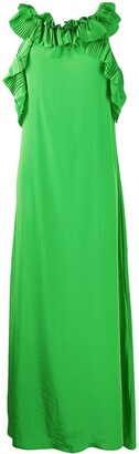 P.A.R.O.S.H. Accordion Pleat Trimmed Maxi Dress