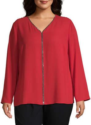 Liz Claiborne Long Sleeve V-Neck Jewel Top - Plus