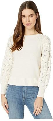 La Vie Rebecca Taylor Cotton Merino Pullover (Chalk) Women's Sweater