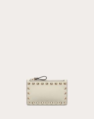 Valentino Rockstud Grainy Calfskin Cardholder With Zipper Women Light Ivory 100% Pelle Di Vitello - Bos Taurus OneSize