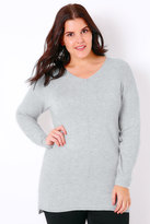 Yours Clothing Grey Marl Knitted Longline Jumper With Ribbing Detail