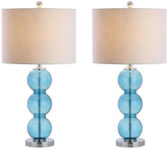 "Jonathan Y Designs Bella 27"" Glass Triple-Sphere Table Lamp, Set of 2"