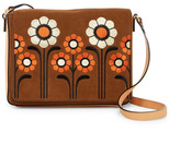 Orla Kiely Suede Embroidery Rosemary Shoulder Bag