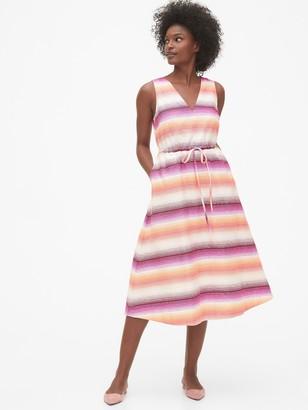 Gap Sleeveless Midi Dress in Linen-Cotton