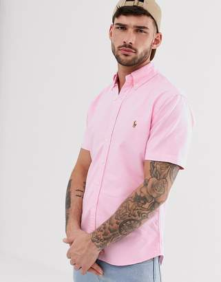 Polo Ralph Lauren player logo short sleeve oxford button down shirt slim fit in pink