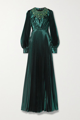 Andrew Gn Crystal-embellished Pleated Silk-blend Lame Gown - Dark green