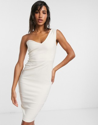 Vesper one shoulder midi dress in beige