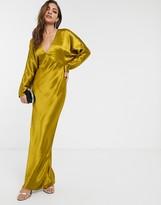 Asos Design DESIGN maxi dress batwing sleeve bias cut