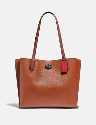 Coach Willow Tote In Colorblock With Signature Canvas Interior