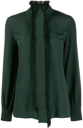 Tory Burch fringed trim tie blouse