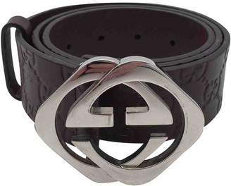 Gucci Interlocking Buckle Burgundy Leather Belts