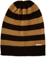 MICHAEL Michael Kors Striped Ribbed-Trim Slouchy Hat, Chocolate/Dark Camel