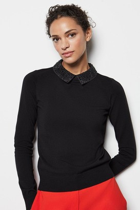 Karen Millen Crystal Collar Knit Jumper