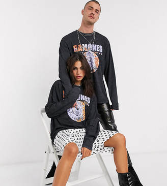 Reclaimed Vintage inspired unisex long sleeve Ramones t-shirt in washed black
